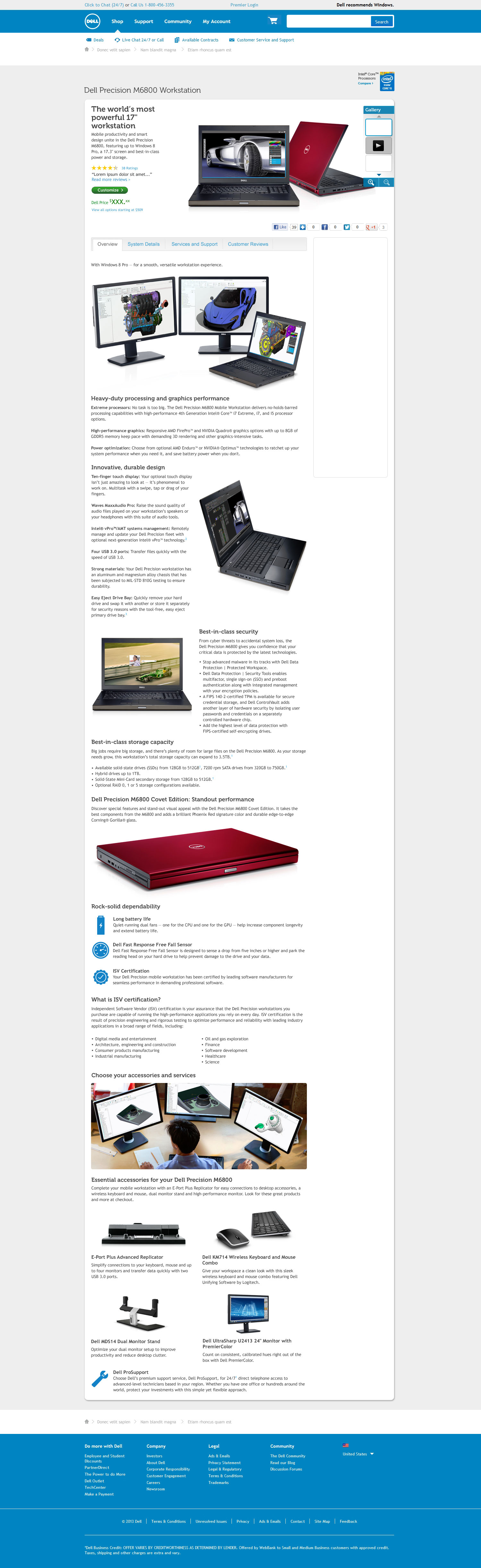 Dell Precision M6800 workstation details page